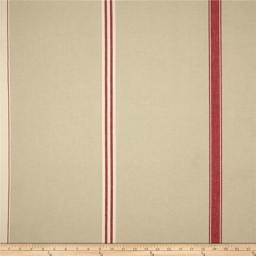 Benartex Home Corfu Stripe Khaki/Red