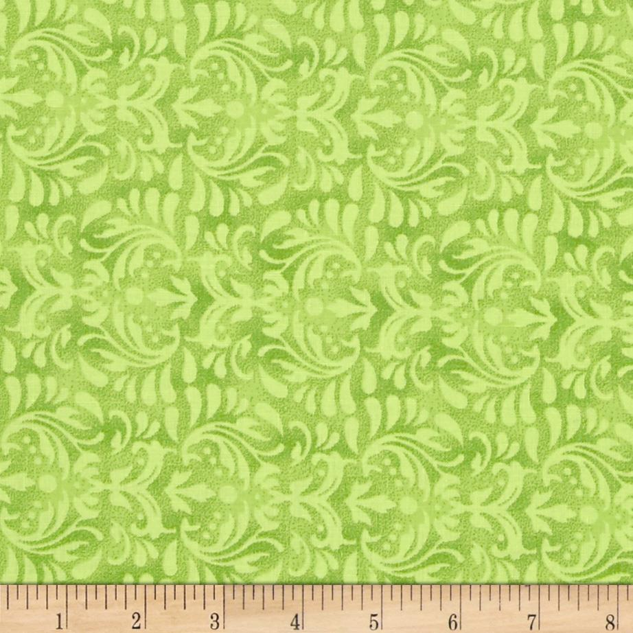 "110"" Wide Quilt Backing Floral Lime"