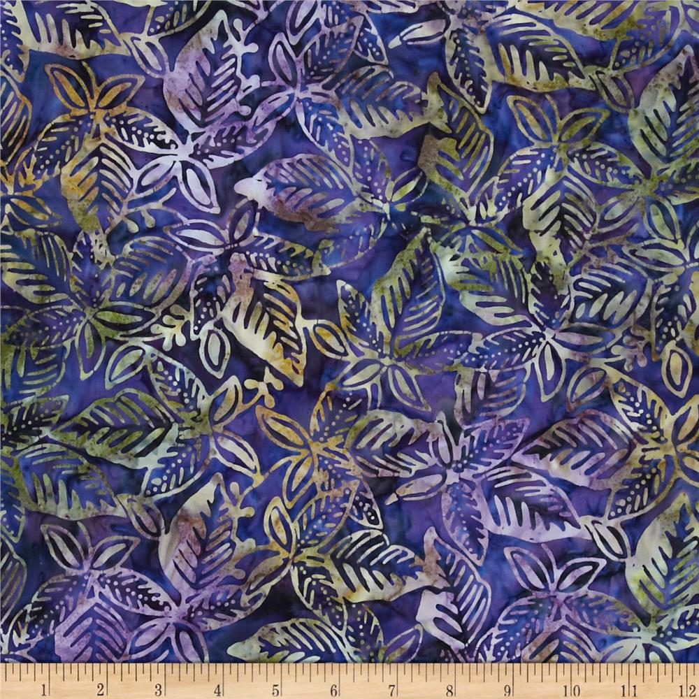 Batavian Batiks Packed Leaves Plum