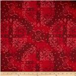 "0294096 108"" Wide Quilt Backing Medallion Tonal Red"