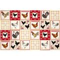 Timeless Treasures Rooster Patchwork Panel Red