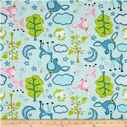 Flannel Forest Animals Light Blue