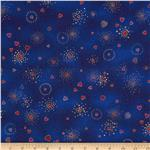 201328 Laurel Burch Basics Hearts Blue Metallic