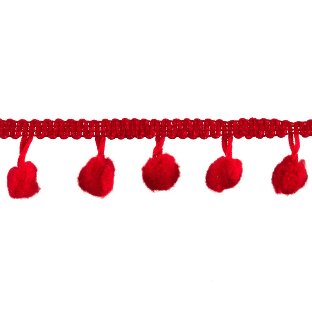 3/4&quot; Pom Fringe Trim Red