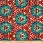 Bloom Stretch Cotton Sateen Regal Motif Red/Blue