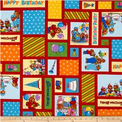 Moda Beary Happy Birthday Patchwork Red