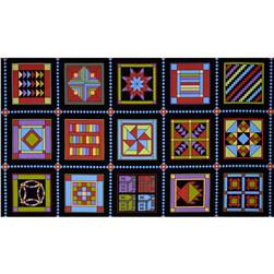 Almost Amish Quilt Block Panel Black