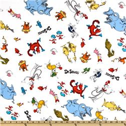 Celebrate Seuss! Flannel Tossed Characters White