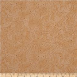"110"" Wide Quilt Backing Scroll Tan"