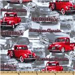 Timeless Treasures American Classic Truck Grey/Red