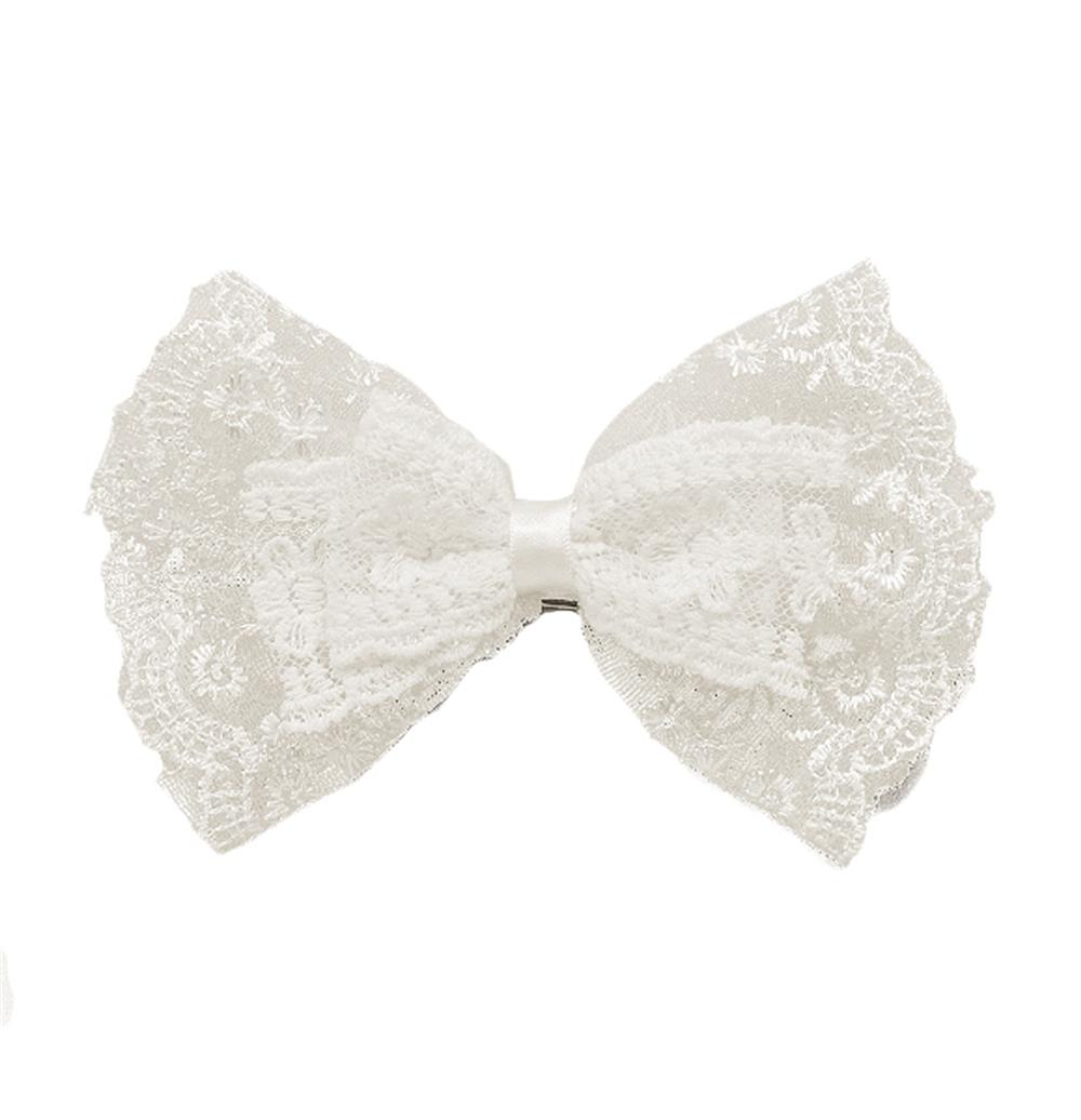 "6"" X 4"" Lace Double Bow Brooch And Hairclip White"