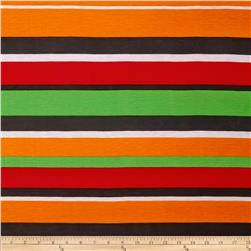 Stretch Jersey Knit Spendid Stripe Orange/Green