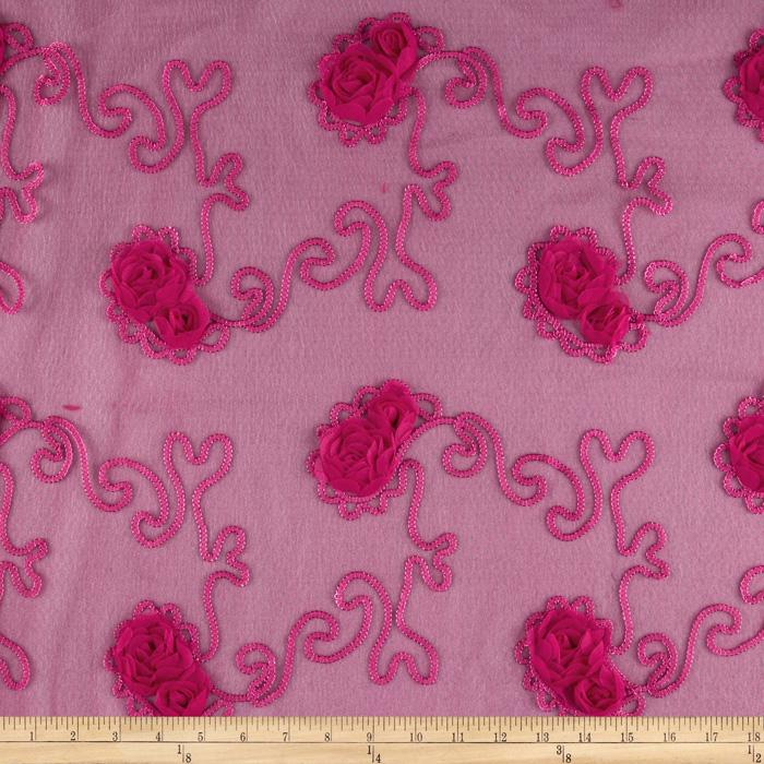 Bella Sheer Lace Rosette Fuchsia