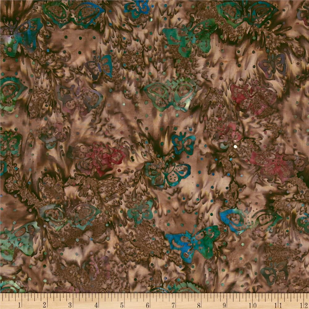 Moda Enchanted Pond Batik Butterflies Cattail Brown/Dusk