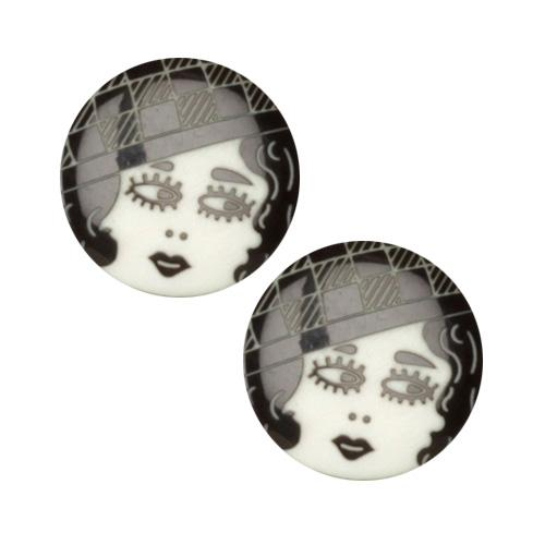 Novelty Button 3/4&#39;&#39; Flapper Black/White