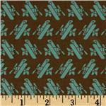 Kokka Trefle Oxford Cotton Canvas Airplanes Brown/Aqua