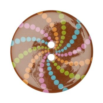 Fashion Button 1-3/8&#39;&#39; Confetti Pinwheels Brown