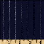 Stretch Linen Pin Stripe Navy