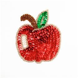 Apple Sequin Applique Red