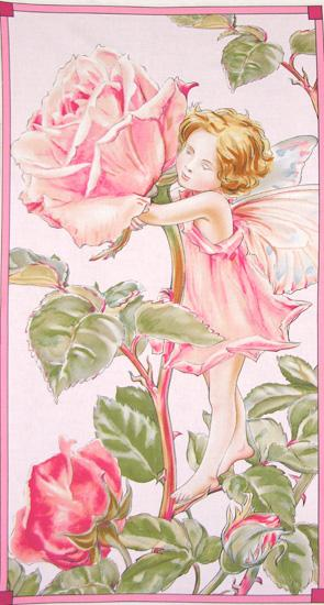 Michael Miller Sweet Flower Fairies Panel Rose