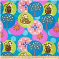 Mystic Forest Monkey and Flower Circles Blue/Multi