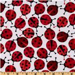FA-351 Kaufman 21 Wale Cool Cords Ladybugs White