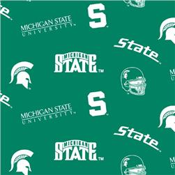 Collegiate Flannel Print Michigan State University Allover Green