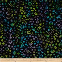 Indian Batik Black Magic Floral Prp/Teal/Lime