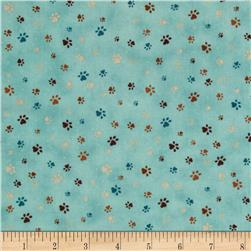 Kitty Kat Kapers Paw Print Blue