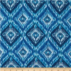 Stretch Polyester Jersey Knit Ikat Blue