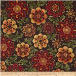 0283757 Barolo Metallic Large Floral Burgundy