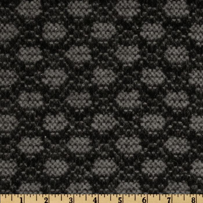 Wool Blend Coating Oval Dots Grey/Black