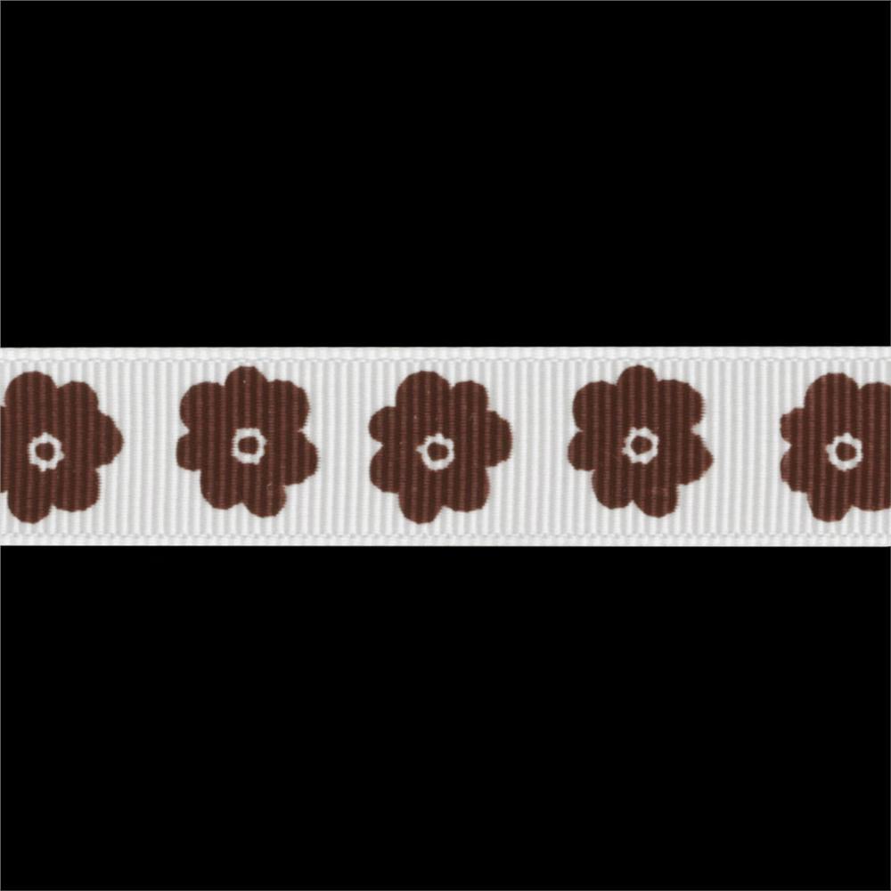 "Riley Blake 5/8"" Grosgrain Ribbon Flower Brown"