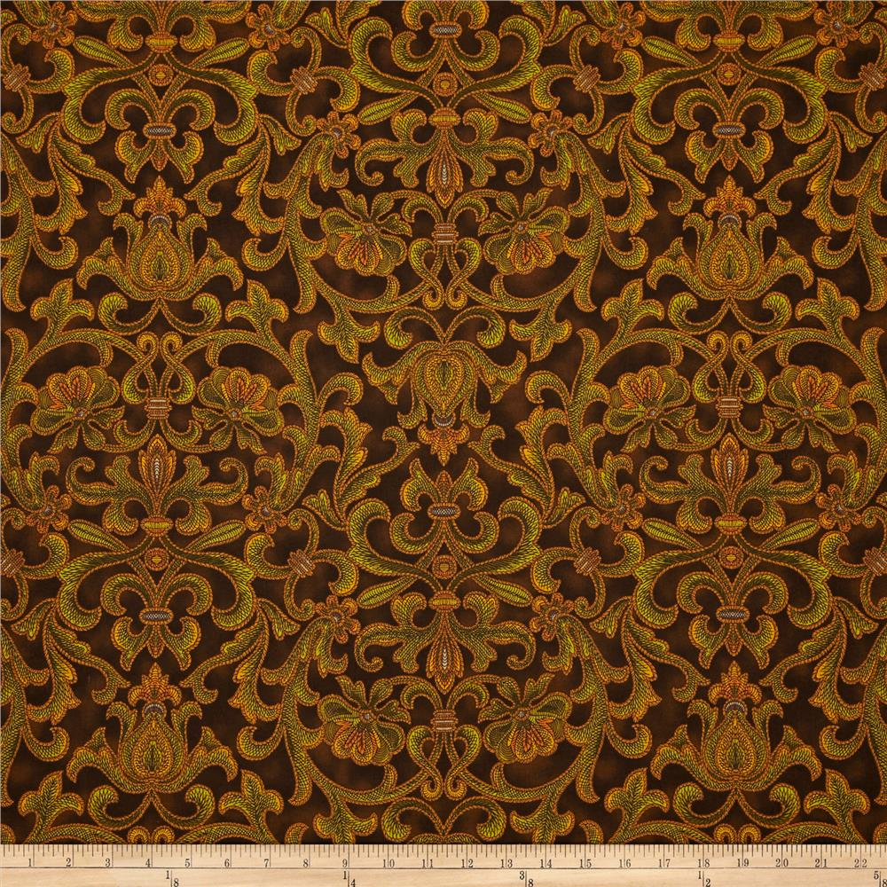Corsica Floral Scroll Brown