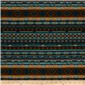 Designer Stretch Jersey Knit Tribal Stripe Teal/Black