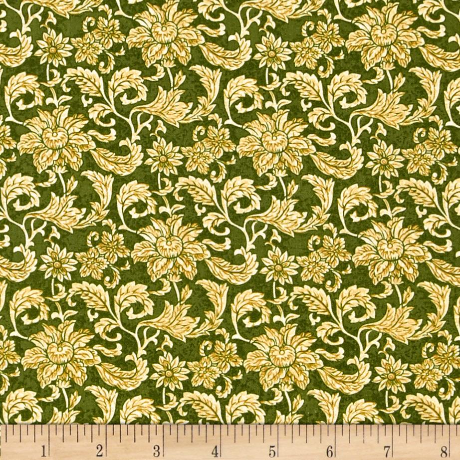 Floral Vines Green/Beige