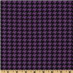Stretch Rayon Jersey Knit Houndstooth Purple/Black