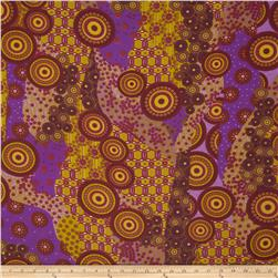 Crepe Chiffon Abstract Designs Curry/Purple
