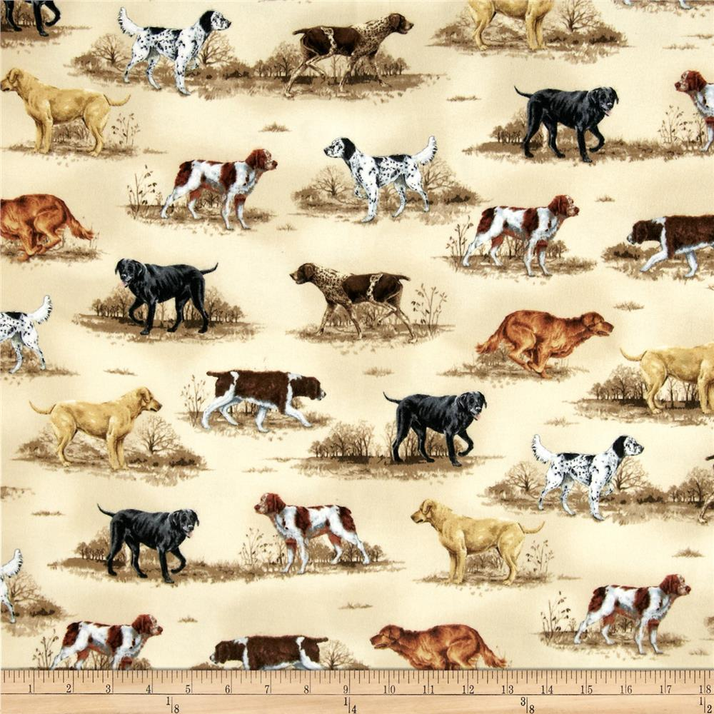 Nature Studies Flannel Hunting Dogs Linen Antique