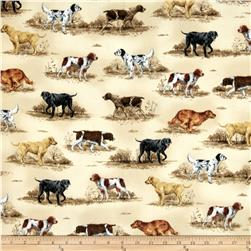 Nature Studies Flannel Hunting Dogs Linen Antique Fabric