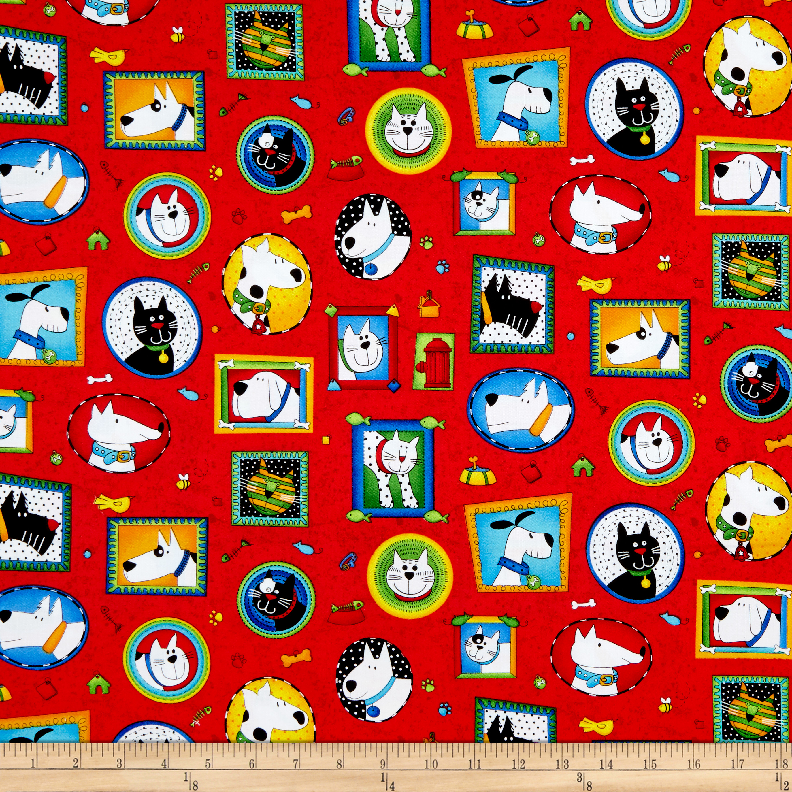 INOpets.com Anything for Pets Parents & Their Pets Epic Woof N' Whiskers Framed Pets Red Fabric