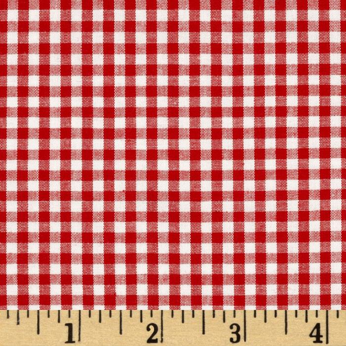 Stretch Cotton Gingham Red/White
