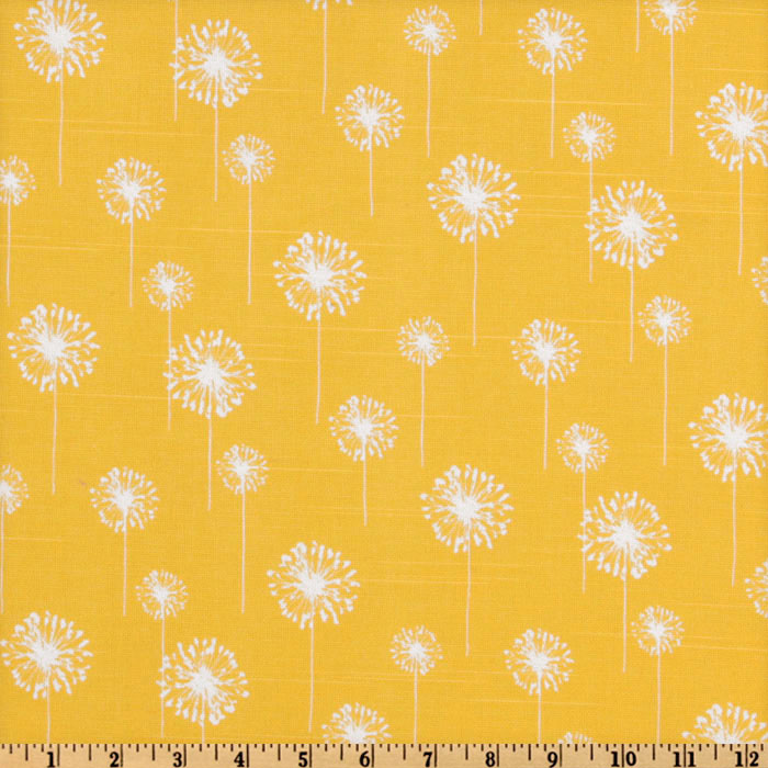 Premier Prints Small Dandelion Slub Yellow/White
