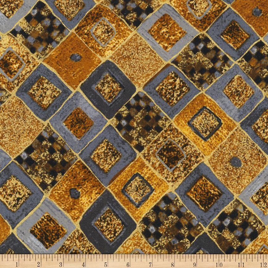 Kaufman Gustav Klimt Squares Diamonds Gole Metallic