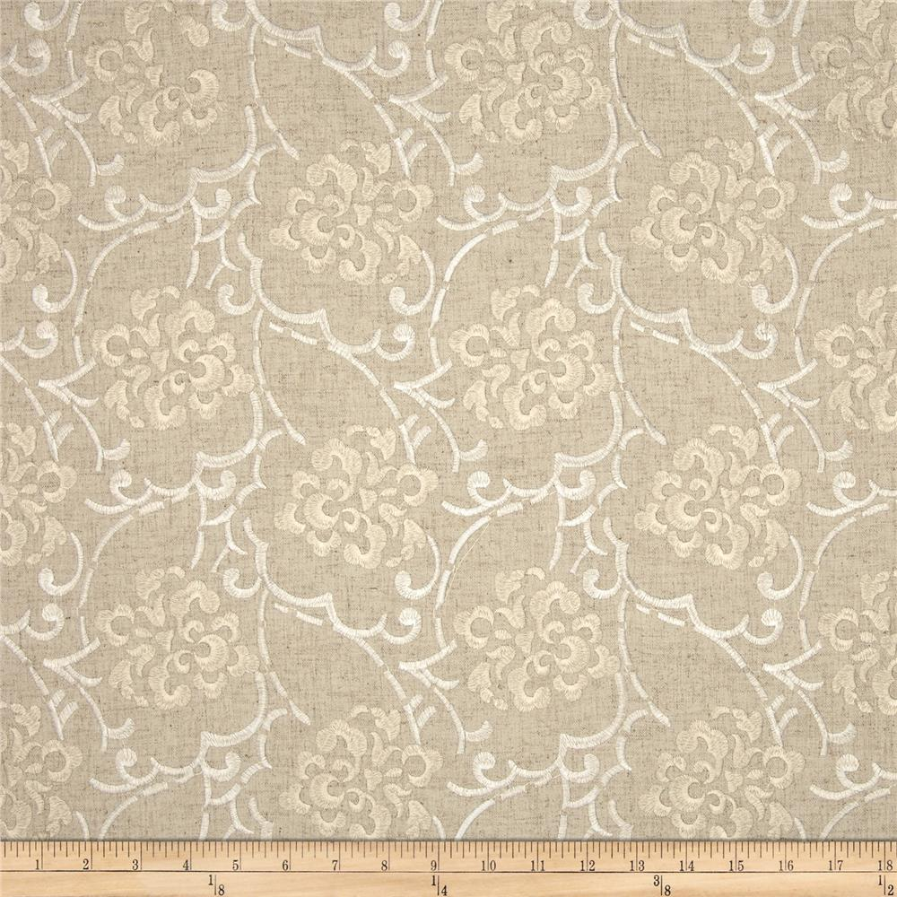 Duralee Embroidered Song Blend Natural/Beige