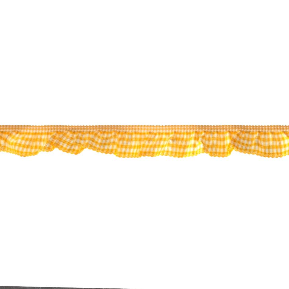 "3/4"" Stretch Gathered Gingham Trim Bright Yellow"