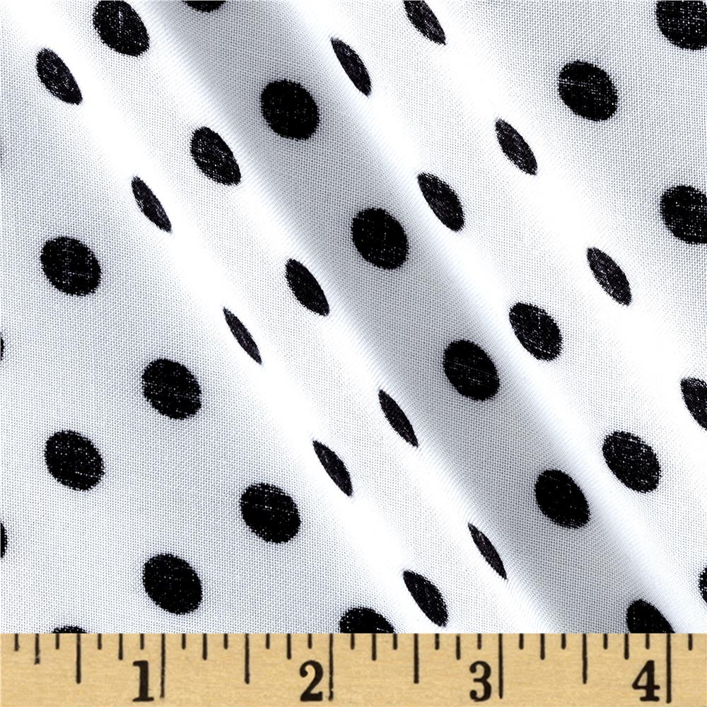 Rayon Challis White/Black Dots
