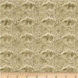 Arabella Rose Packed Floral Scrolls Tan Fabric
