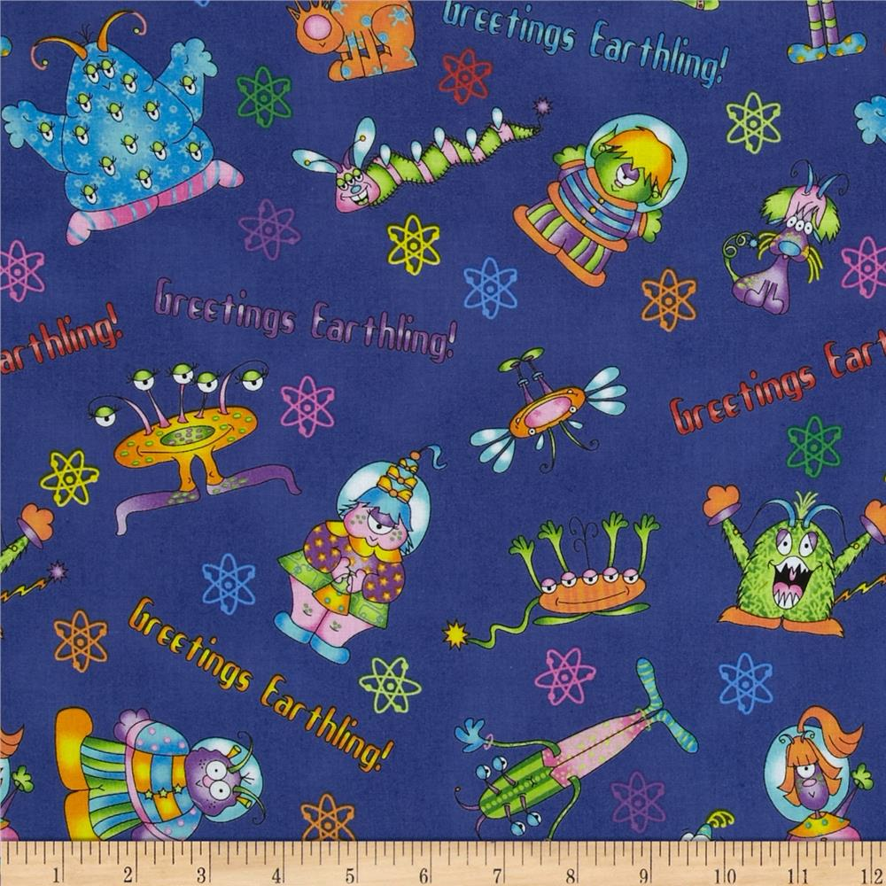 Welcome to my world alien toss blue discount designer for Alien fabric