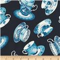 Timeless Treasures True Blue Tossed Tea Cups Navy